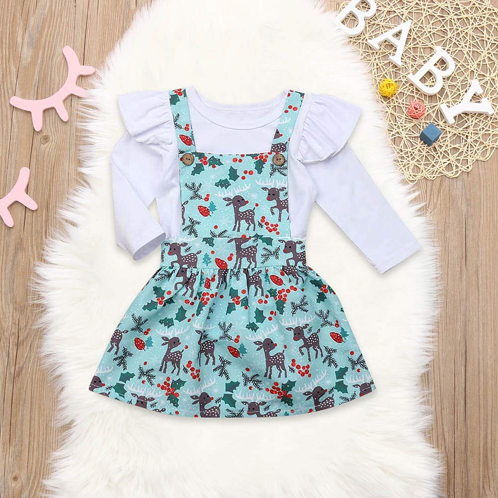 2bc72151de1 Christmas Baby Kids Girl Romper +Cartoon Deer Tutu Skirts Outfits Set  Outfit Christmas Children Horn Long Sleeve Jumpsuit + Straps Skirt Suit For  Children ...