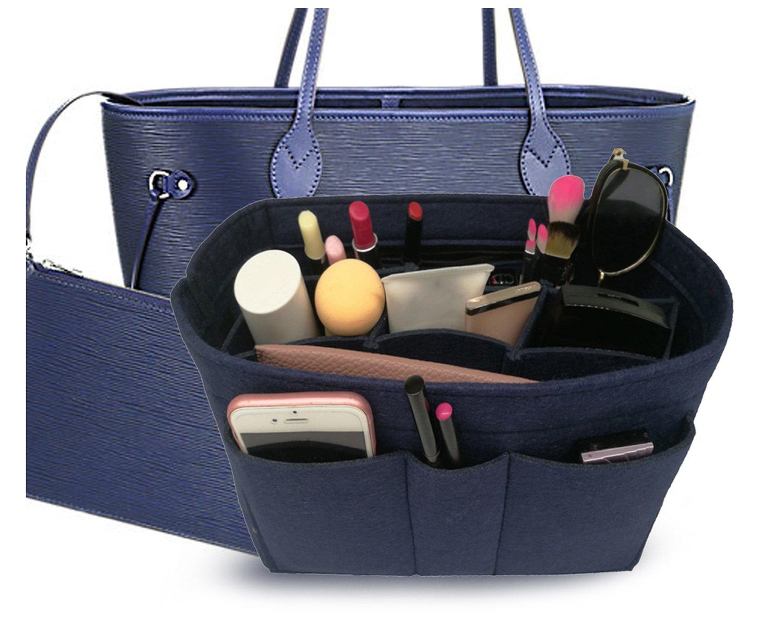 Felt Insert Fabric Purse Organizer Bag, Bag Insert In Bag with Zipper Inner Pocket Blue M