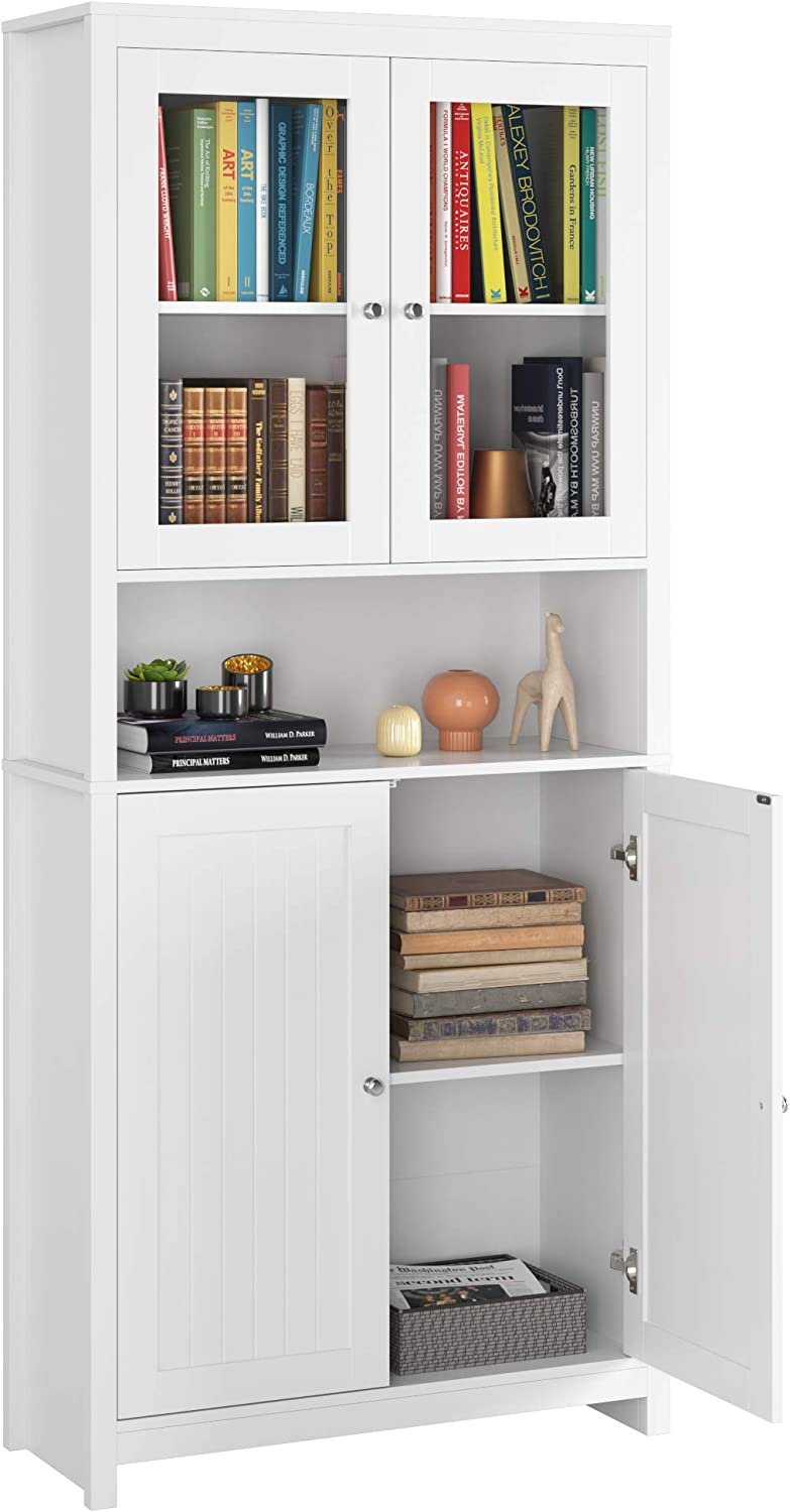 White Traditional Elegant Design for Living Room Kitchen Hallway Homfa 74.8 Inch Bookcase Kitchen Buffet Cupboard Cabinet Freestanding Pantry and Hutch with Framed Glass Doors and Open Shelf