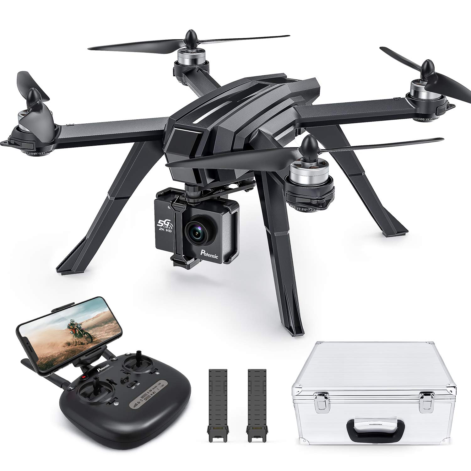 Potensic D85 GPS Drone with 2K FPV Camera, 5G WiFi Live Video Brushless Quadcopter with Carrying Case, 2 Batteries 40 Min, Auto Return Home, Follow Me, Selfie Drone for Adult Beginner Expert by Potensic