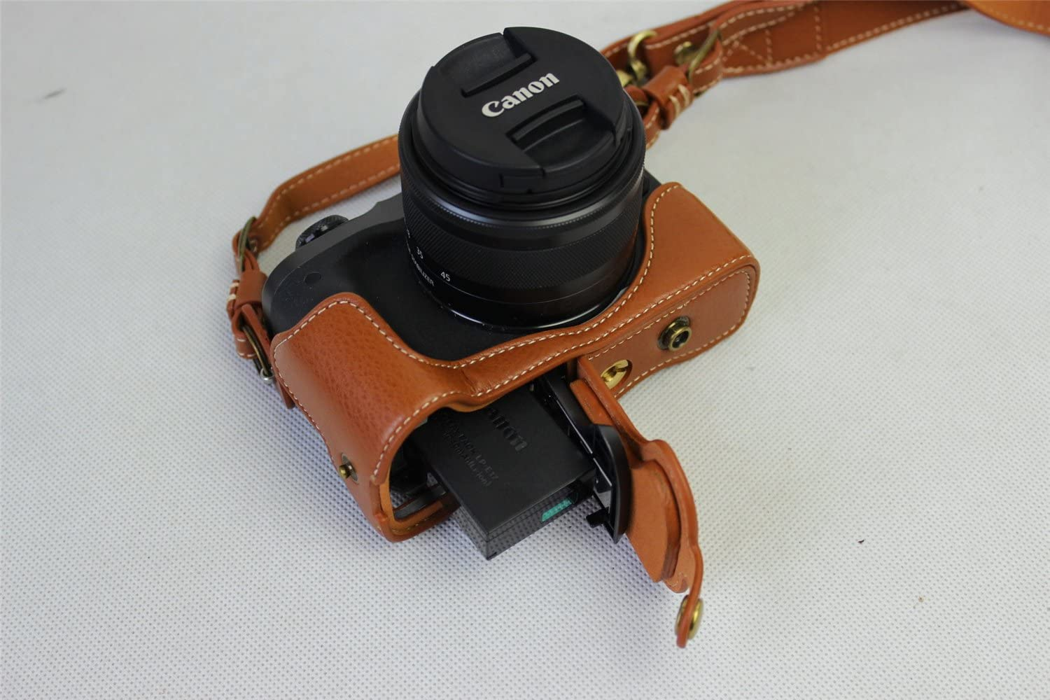 BolinUS Real Genuine Handmade Leather FullBody Camera Case Bag Cover for Canon Eos M6 with 15-45mm lens Bottom Opening Version Canon Eos M6 Case Neck Strap Mini Storage Bag -Brown