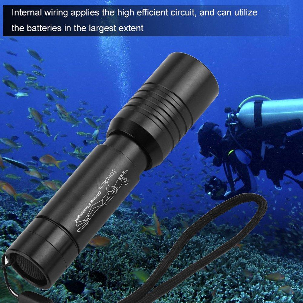 Diving Flashlight Handheld Zoomable 300-400 Meters 1200LM T6 LED Scuba Dive Lights Waterproof IP68 Underwater Submersible Lights