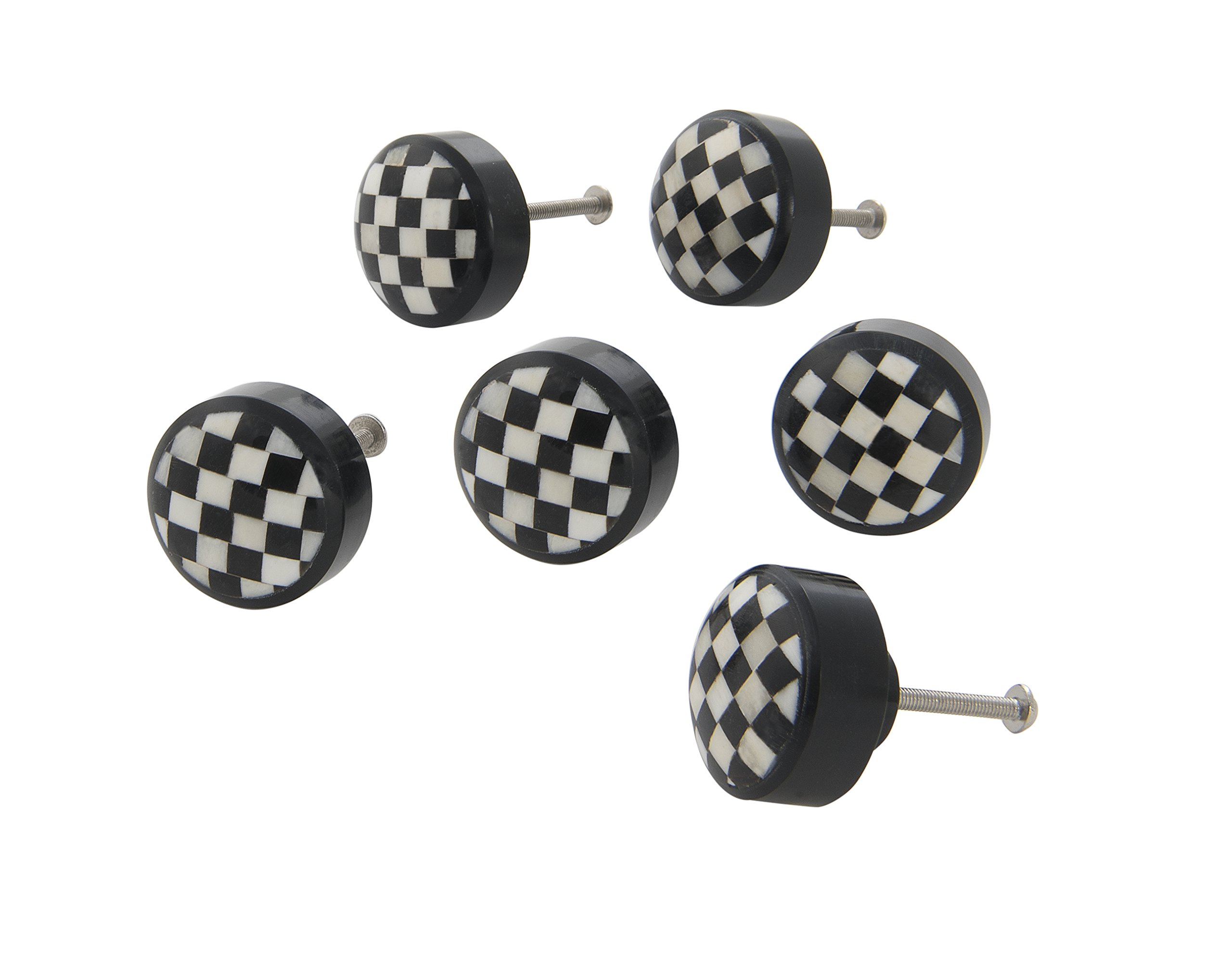 Dritz Home 47073A Resin Checkerboard Knob Handcrafted Knobs for Cabinets & Drawers