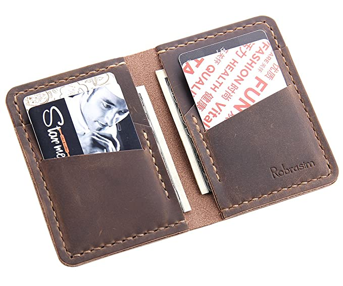 3e9442ca2680 Robrasim Handmade Bifold Leather Wallet - Handmade Front Pocket Leather  Wallet - Minimalist Leather Credit Card
