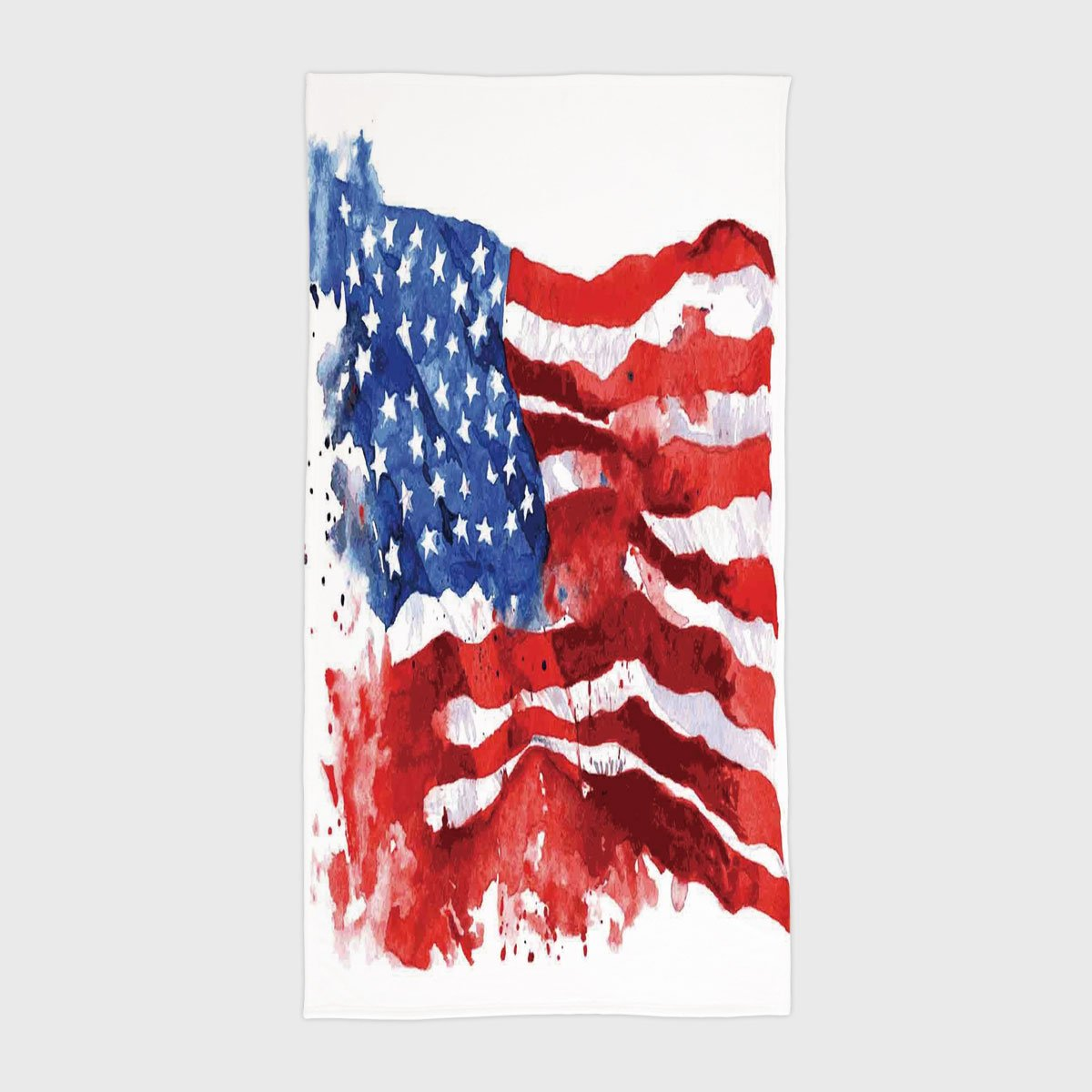 iPrint Cotton Microfiber Hotel SPA Beach Pool Bath Hand Towel,American,Flag of America Watercolor Splash National Independence Symbol Abstract Art,Red Blue White,for Kids, Teens, and Adults by iPrint (Image #1)