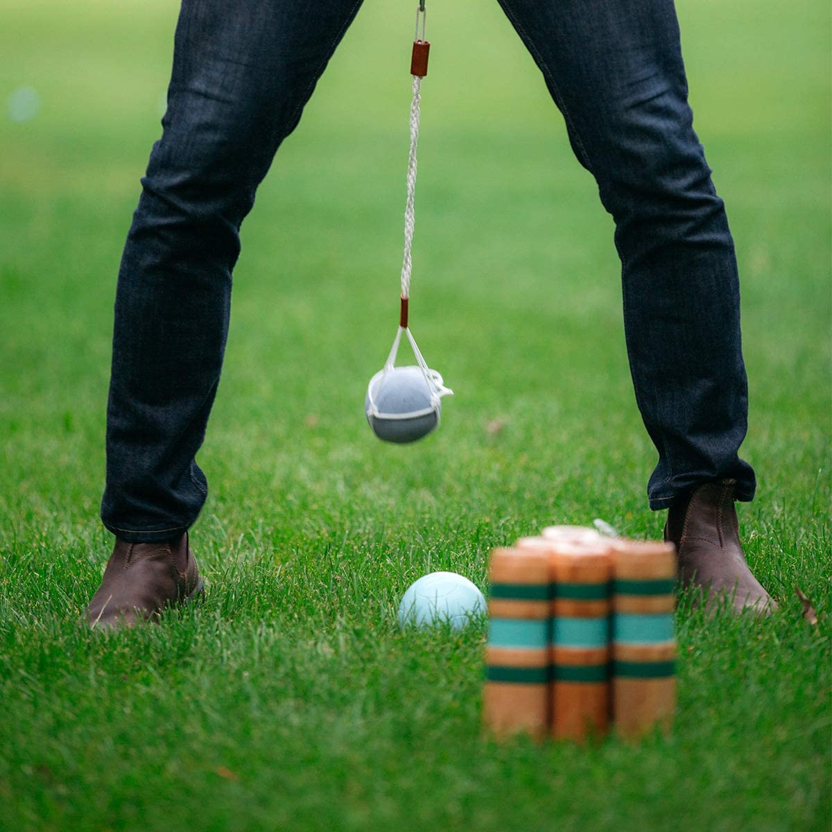 Includes Swinging Pendulum Waist Belt with Weighted Ball Lots of Laughs 6 Pins The Hilarious Hip Bowling Game or Wrecking Ball Game Premium Carrying Case Umali