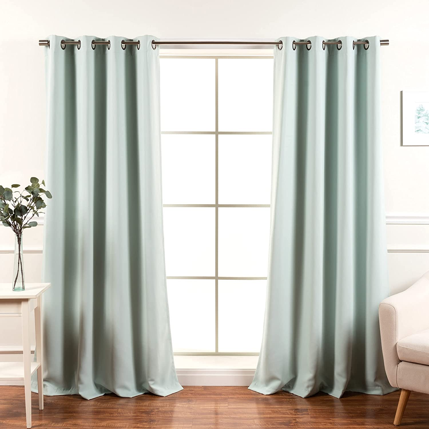 Best Home Fashion Blackout Curtain Panels - Premium Thermal Insulated Window Treatment Blackout Drapes for Bedroom - Antique Bronze Grommet Top – Mint - 52