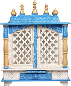 TAM Creatio Wooden Pooja Mandir |Indian| |Hindu| |Decoration| |Puja| |Cabinet| |Temple| |Bhagwan| |Stand| |Mandapam| |Wall| |Hanging| Decor for Home in USA (White Blue)