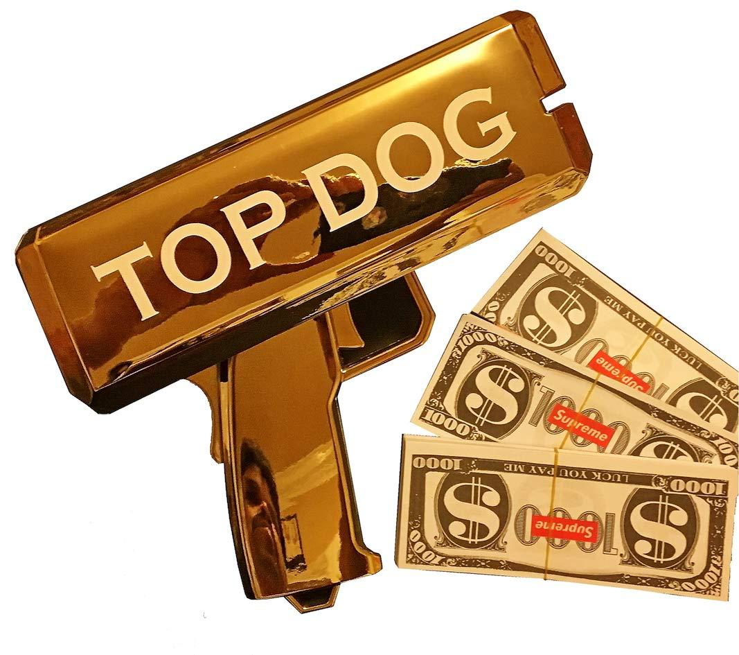 Rapid$Gun Money Gun Toy + 3 X 100 Prop Money + 2 X 9V Batteries | Make it Rain Real Money Dispenser - Dollar Shooter - Paper Money Spray (Top-Dog Chrome Gold)