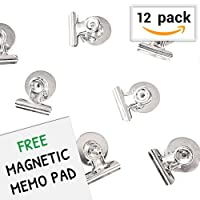 12 Strong Refrigerator Magnet Clips with Surface Protectors for Organizing & Decorating - BONUS Magnetic Notepad - Best Value Set