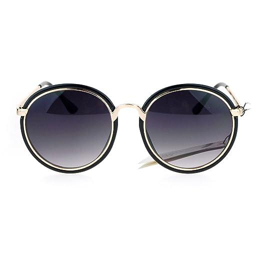 272e321f484 SA106 Womens Double Frame Diva Designer Fashion 90s Star Sunglasses Black  Smoke