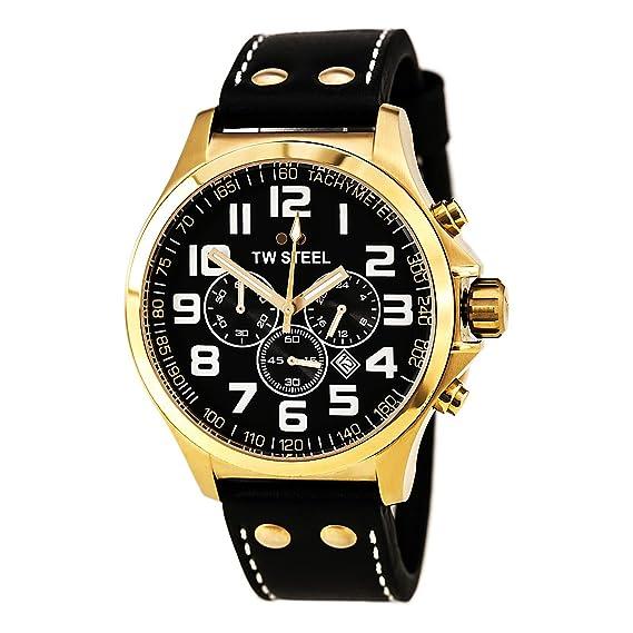 TW Steel Pilot - Reloj de cuarzo para mujer, con correa de cuero, color negro: Amazon.es: Relojes