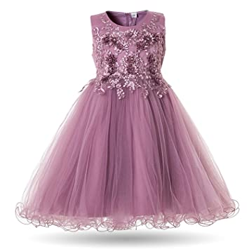 656366c9d80 Image Unavailable. Image not available for. Color  Flower Girls Dress  Wedding Party Dresses for Kids Pearls Formal ...