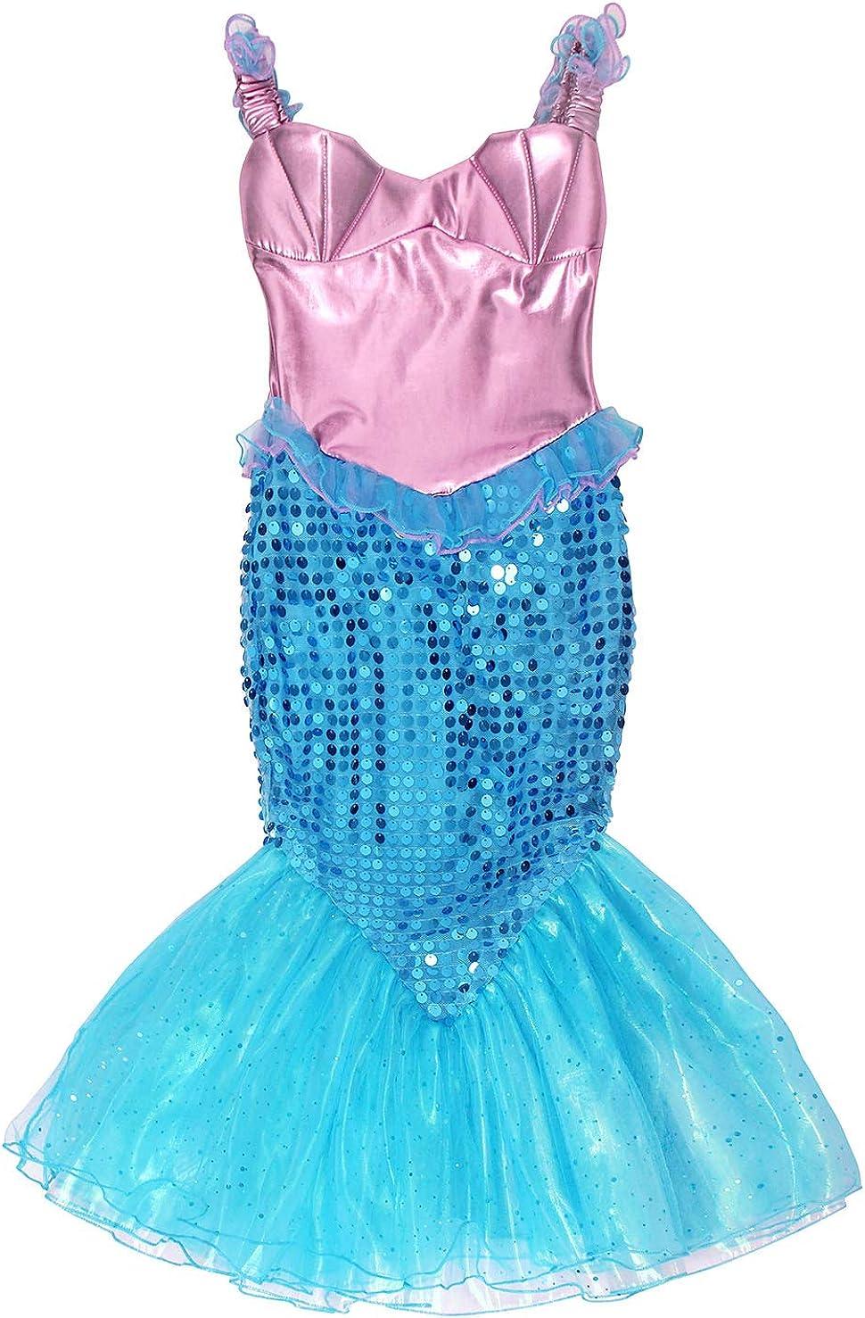AmzBarley Meerjungfrau Kost/üm Kleid Kinder M/ädchen Ariel Kost/üme Prinzessin Kleider Abendkleid Halloween Cosplay Verr/ücktes Kleid Geburtstag Party Ankleiden