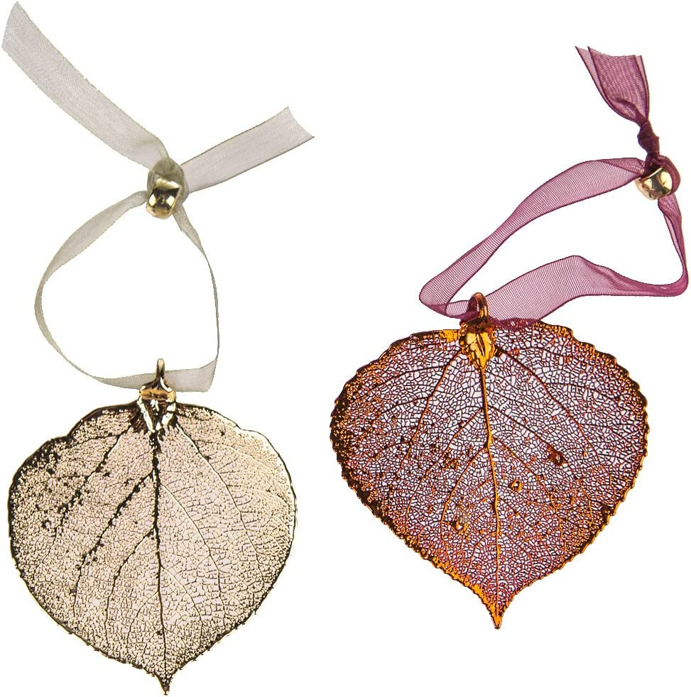 Curious Designs Aspen Leaf Ornament Set - One Copper, One Gold, Real Leaves