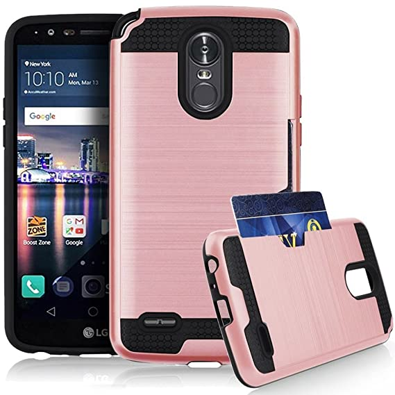 premium selection 09005 0d116 J.west Stylo 3/Stylo 3 Plus/LG Stylus 3 Case, Hybrid Dual Layer Defender  Credit Card Slot Holder Hard Protective Case Cover for LG Stylo 3/Stylo 3  ...