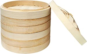 10 Inch Bamboo Steamer for Cooking Vegetables and Dumplings, 3 Tier Design, Healthy Food Prep, Great for Dim Sum, Chicken, Fish, Veggies.