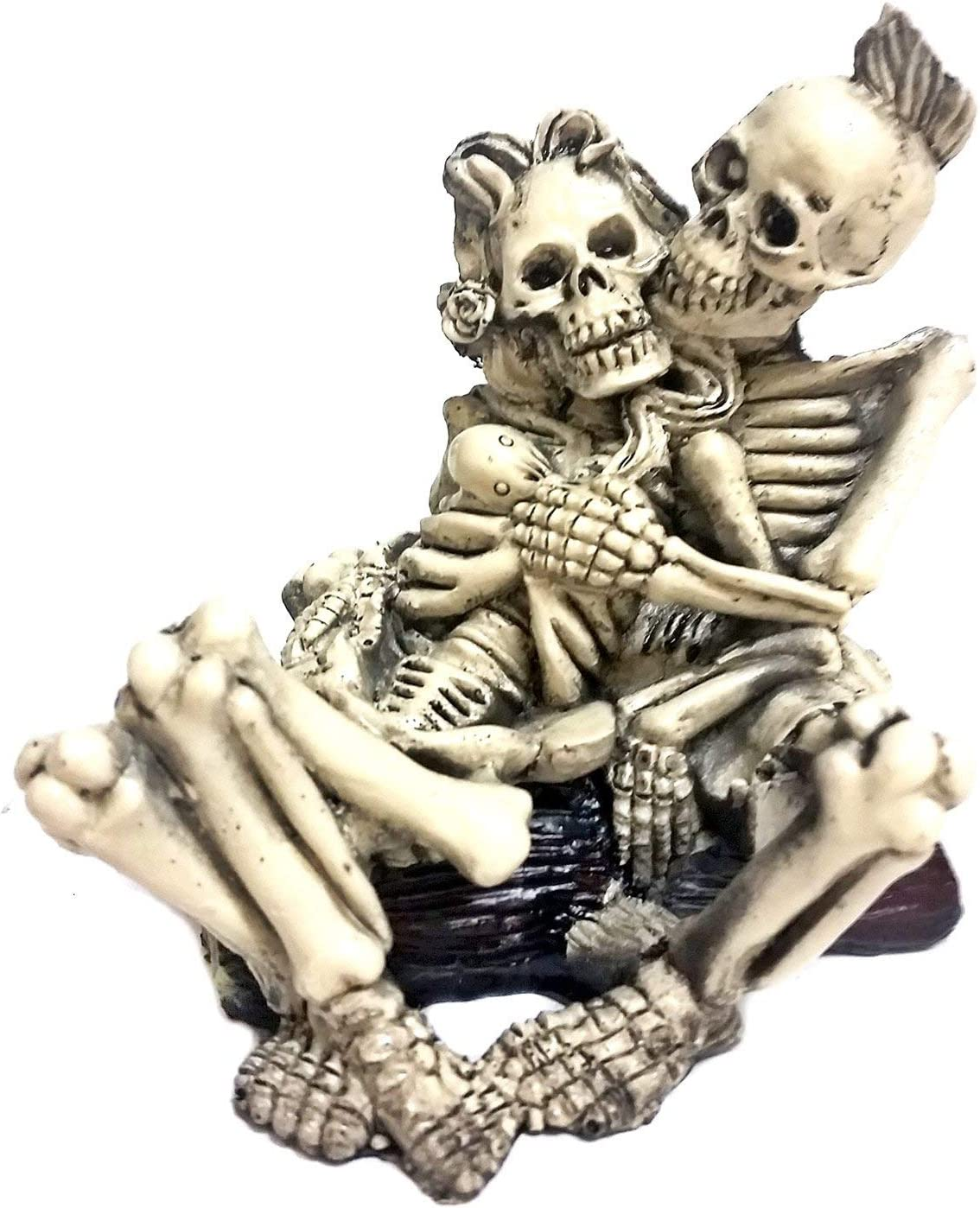 Bellaa 24054 Skeleton Statue Funny Couple Enraptured in Love