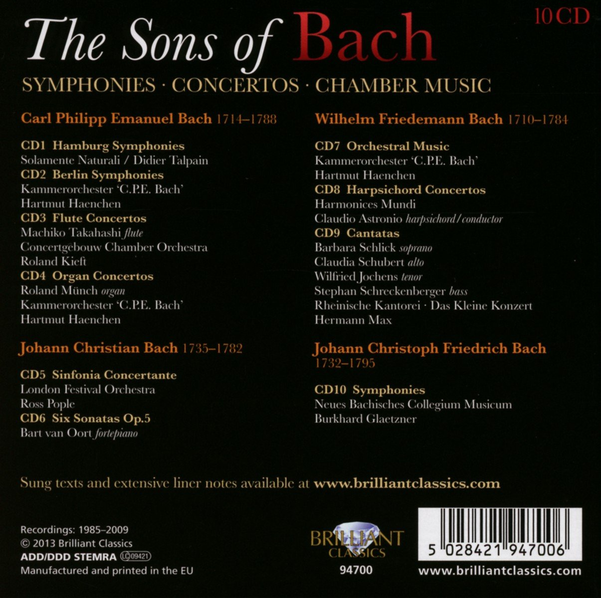 Sons of Bach: Symphonies Concertos Chamber Music by CD
