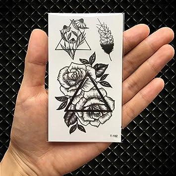 Amazoncom Triangle Rose Flower Temporary Tattoo Feather Birds