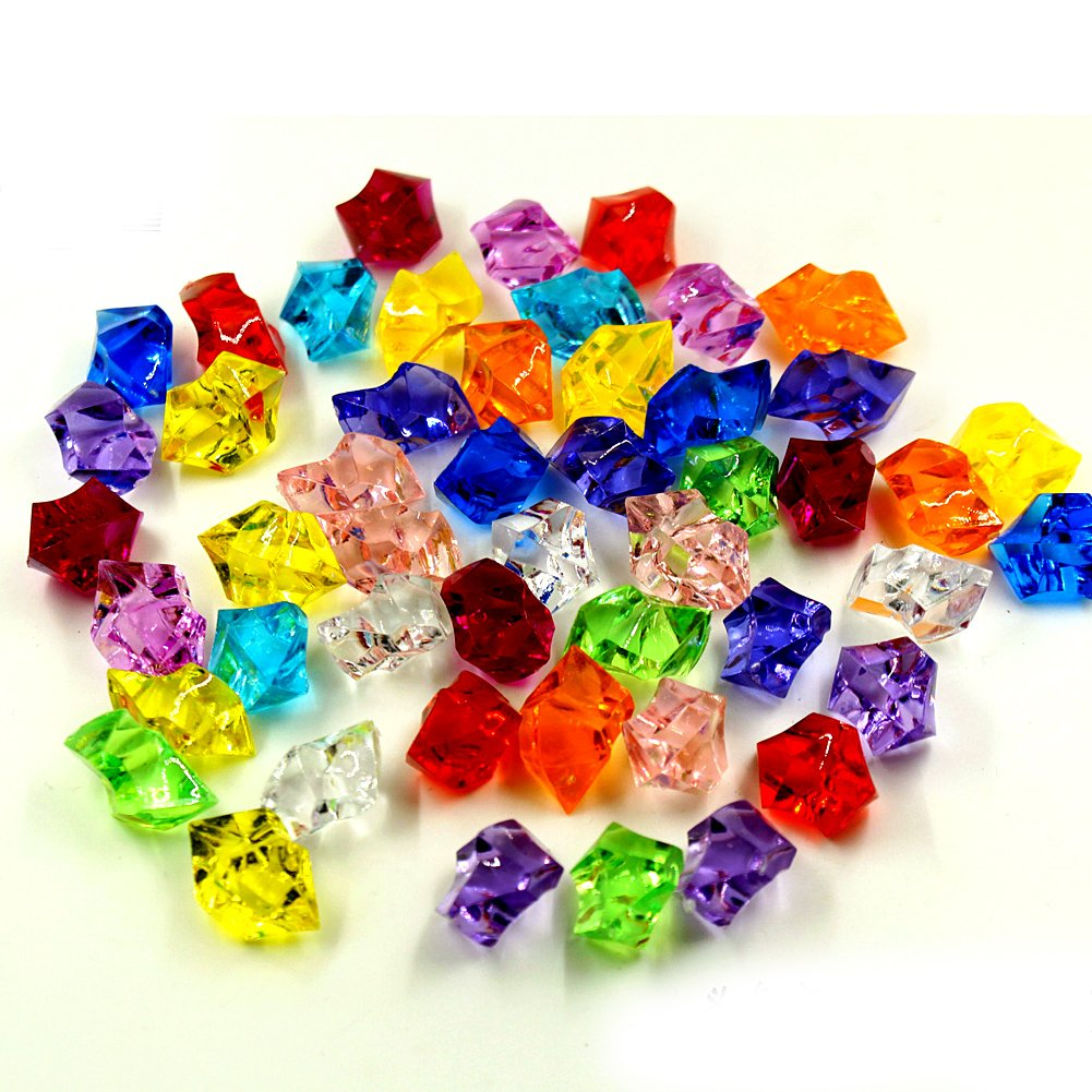 100 Pcs Mixed Color Acrylic Clear Crystal Colored Ice Rock Cubes, Vase Filler or Table Decorating Idea Blue Handcart