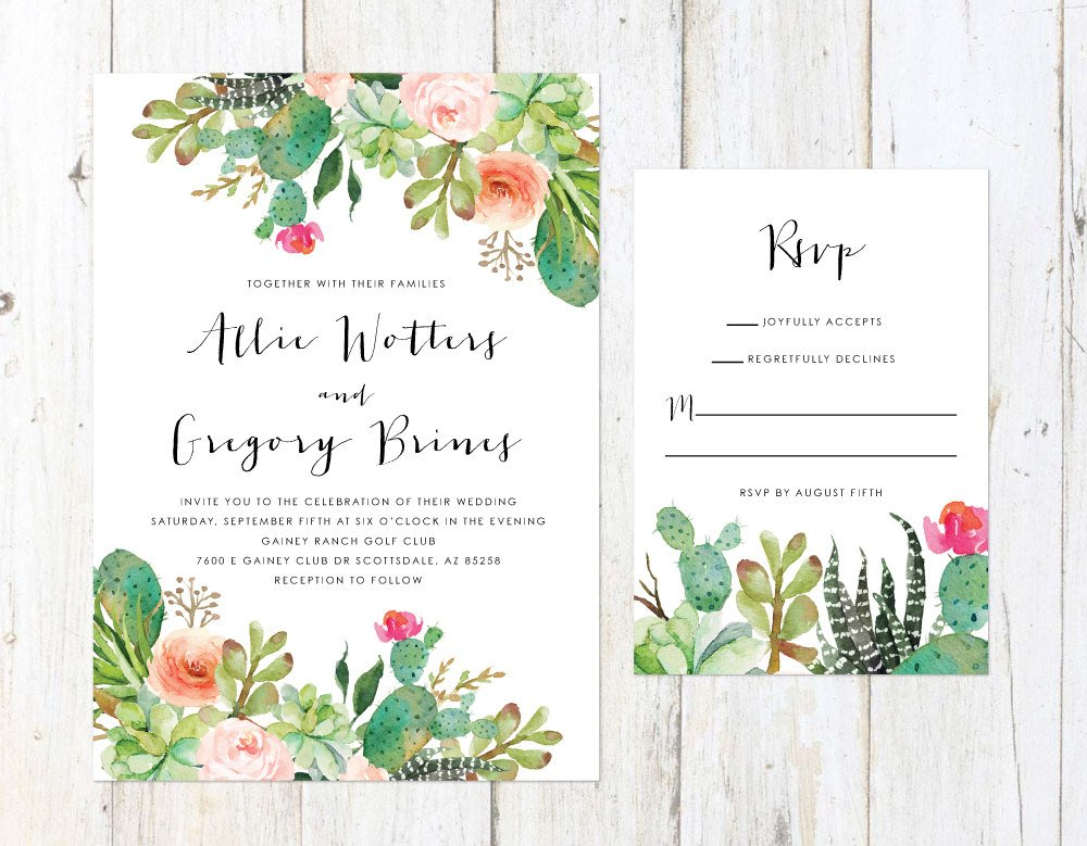 Desert Wedding Invitation, Cactus and Succulent Invitation, Arizona Invitation, Palm Springs Invitation