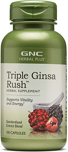 GNC Herbal Plus Triple Ginsa Rush, 100 Capsules, Supports Vitality and Energy