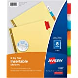Avery 8-Tab Binder Dividers, Insertable Multicolor Big Tabs, 1 Set (11111)