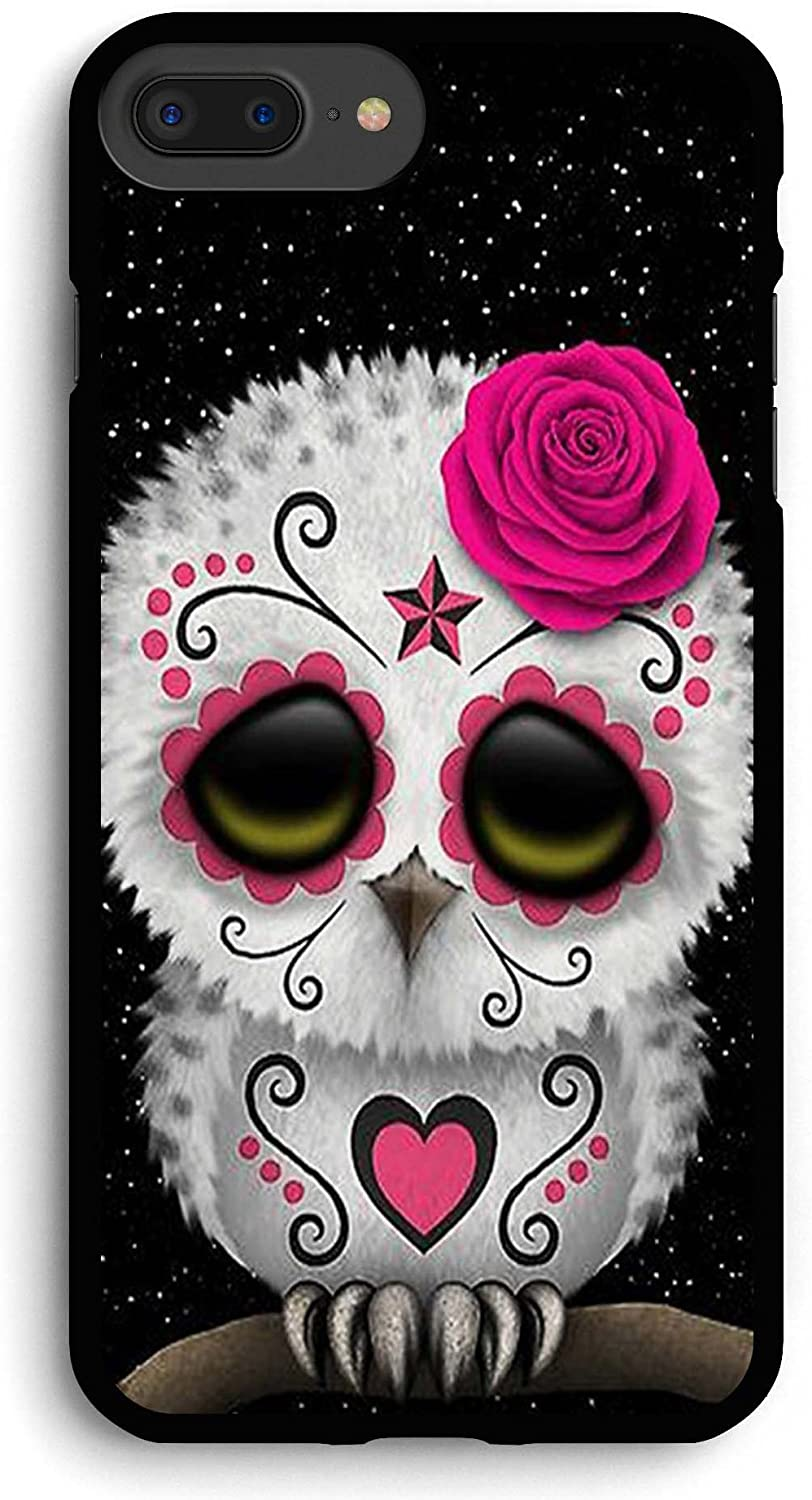 Cute Red Day of The Dead Sugar Skull Owl iPhone 7PLUS /8 Plus Case,PC Hard Case for iPhone 7PLUS /8 Plus
