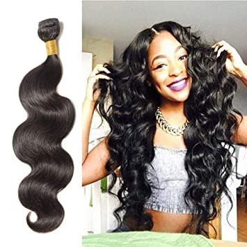 Amazon.com   18 Inch Long Body Wave Remy Human Hair 1 Bundle 100g  Unprocessed Virgin Indian Hair Weave Extensions for Afro American Women  Natural Black  1B ... 97b0f76b3