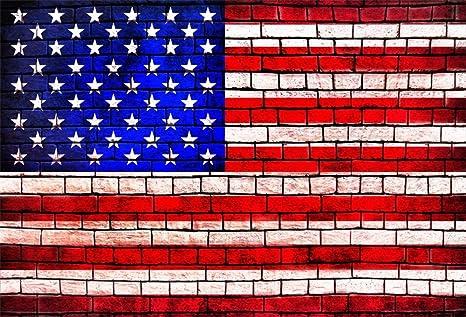 Amazoncom Ofila American Flag Brick Wall Backdrop 5x3ft Usa 4th