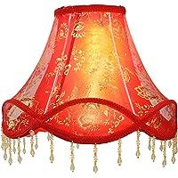 Eastlion - Colgante de palacio retro, fabricado a mano, pantalla de lámpara E27 para lámparas de mesa, lámparas de pie, lámparas de pared, rojo, 15cm(Top) x 36cm(Buttom) x 25cm(Height)