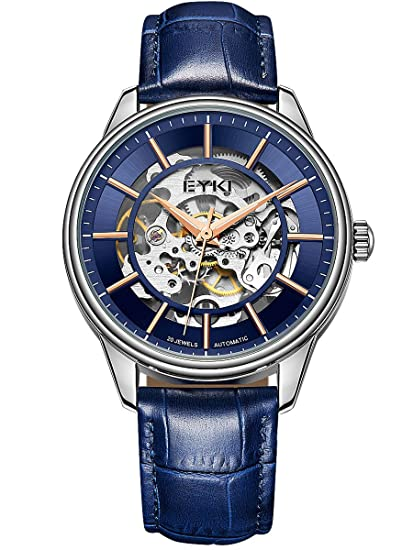 Alienwork Reloj Mecánico Automático Relojes Automáticos Hombre Mujer Piel de Vaca Azul Analógicos Unisex Plata Impermeable Esqueleto: Amazon.es: Relojes