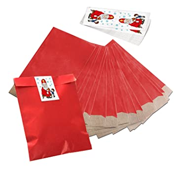 10 pequeñas bolsas de papel weihnac rojas htstüten bolsas de ...