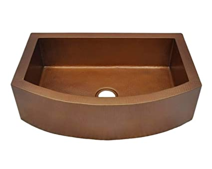 Soluna Copper Farmhouse Sink 33 Hammered Copper Kitchen Sink Cafe Natural Finish Pure Rounded Copper Style Sink Premium Copper Kitchen Sink