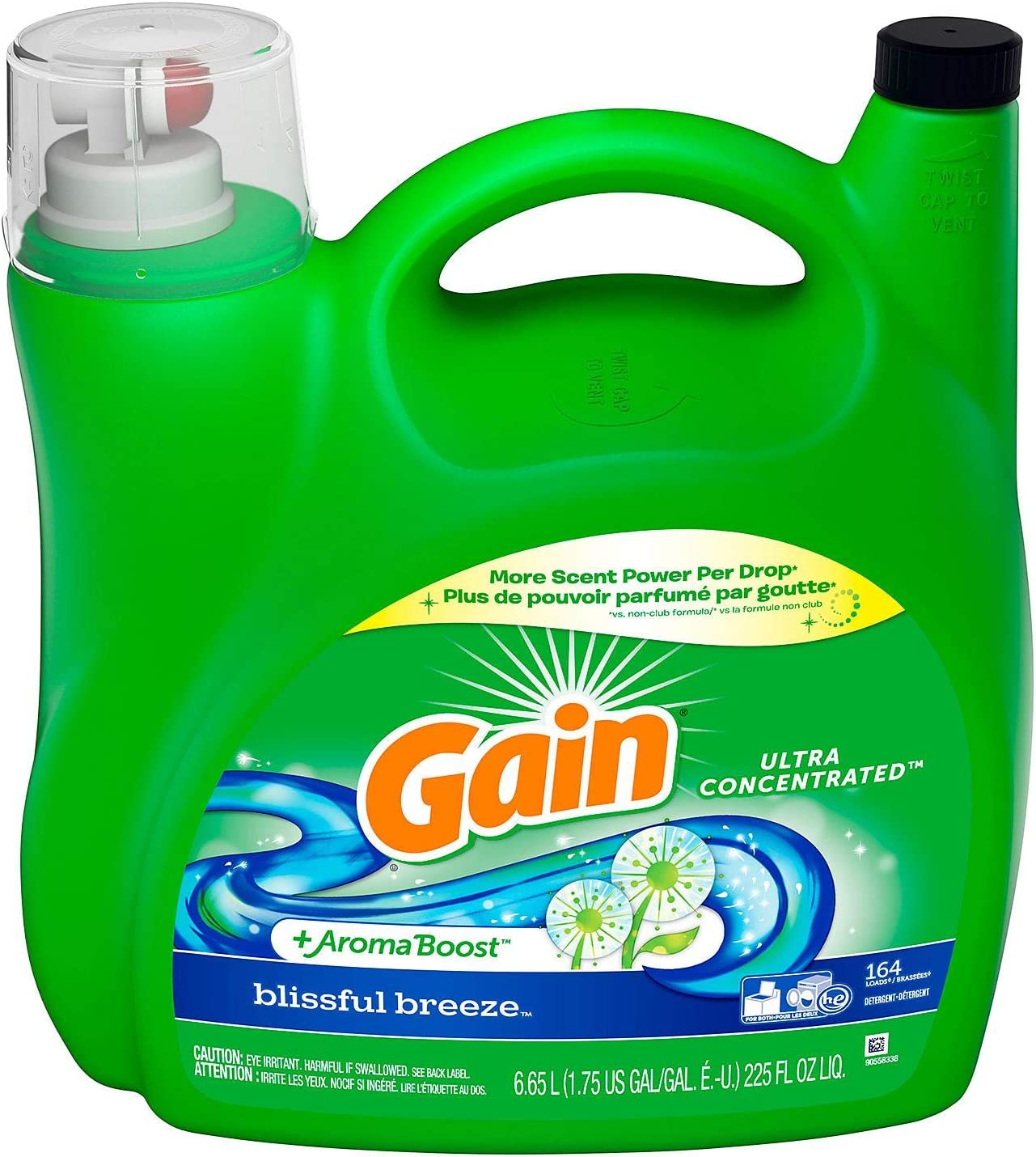 Gain +AromaBoost Ultra Concentrated Liquid Laundry Detergent, Blissful Breeze, 164 Loads (225 fl oz.)