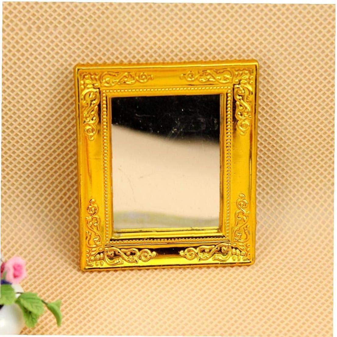 1//12 Casa de mu/ñecas en miniatura espejo con marco de oro
