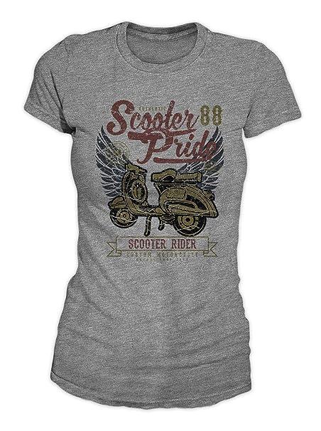Scooter Pride Rider Motorcycle Vespa Grunge Artwork Cool Vintage Classic T-Shirt Camiseta Mujeres: Amazon.es: Ropa y accesorios
