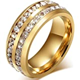 Chryssa Youree Mens Womens 8MM Titanium Stainless Steel High Polished Cubic Zirconia CZ Promise Engagement Band Wedding Ring Size 6 to 12 (SZZ-021) (Size 11, gold)