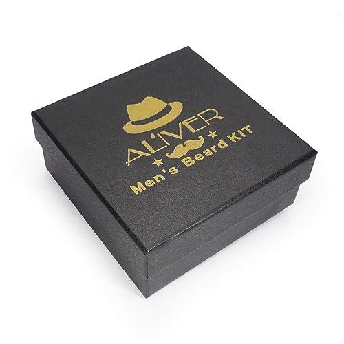 Aliver Beard Grooming & Trimming Kit for Men Beard Growth Gift Set,Beard Conditioner Oil+Beard Balm+ Mustache &Beard Comb Kit+ boar bristle beard brush +Beard Scissors+Storage Bag for Styling care Kit