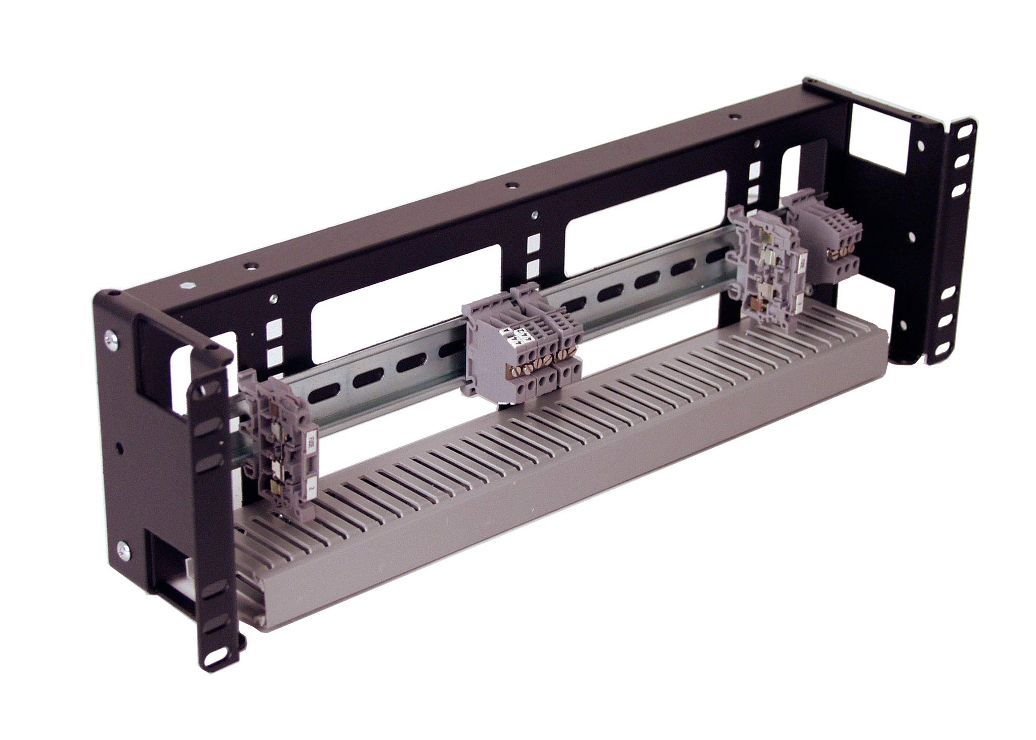 IRP1033D 3U Rackmount 3.78 inch Low Profile DIN Rail Panel for Industrial Standard EIA-310 19 inch 2-Post Relay Rack or 4-Post Server Rack