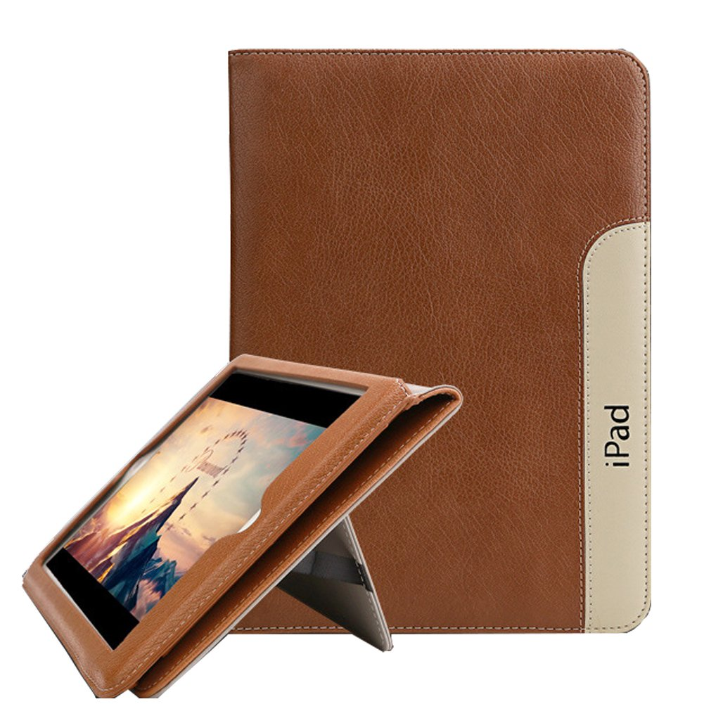 New iPad 9.7(2017/2018)/iPad Air 2/iPad Air Case, PU Leather Smart Standing Business Case Cover [Flip Stand,Wake Up/Sleep Function] for Apple iPad Air/Air 2/New iPad 9.7 2017 2018, Brown
