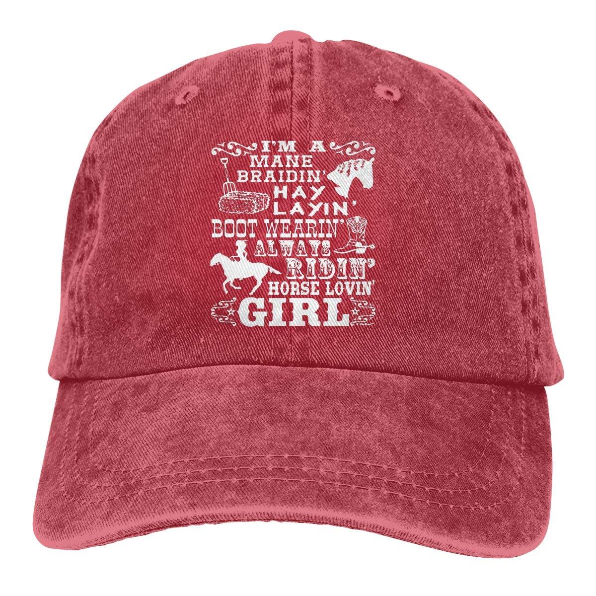Unisex Adults Vintage Washed Baseball Cap Adjustable Dad Hat - Horse Loving Girl Gift Horseback Riding Poem Black