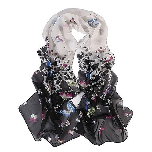Donne Ragazze Moda Primavera Autunno Chiffon Farfalla Stampato Colore Misto Sciarpe