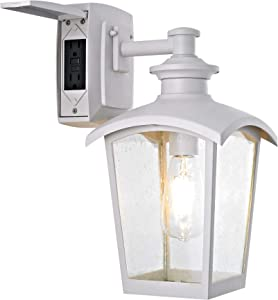 Home Luminaire 31856 Spence 1-Light Outdoor Wall Lantern with Seeded Glass and Built-in GFCI Outlets, White