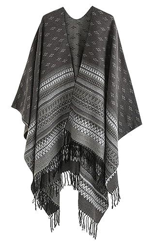 Salybaby Chal Bufanda de Gran Tamaño para Mujer Diseño Retro Pañuelo Poncho con Borlas para Otoño e Invierno - Negro