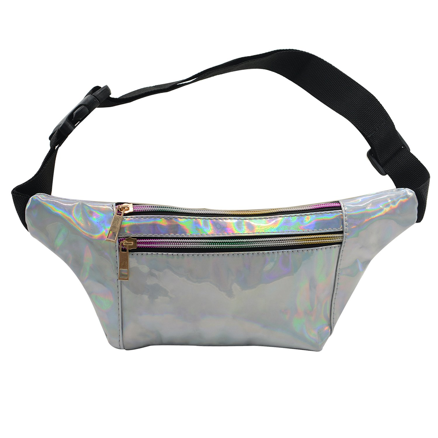 84e045962488 Rave Fanny Pack for Women Girls Waterproof Waist Pack Hip Bum Bag PU  Leather Holographic Belt Pouch for Party, Festival, Rave, Hiking, Travel  Silver Small