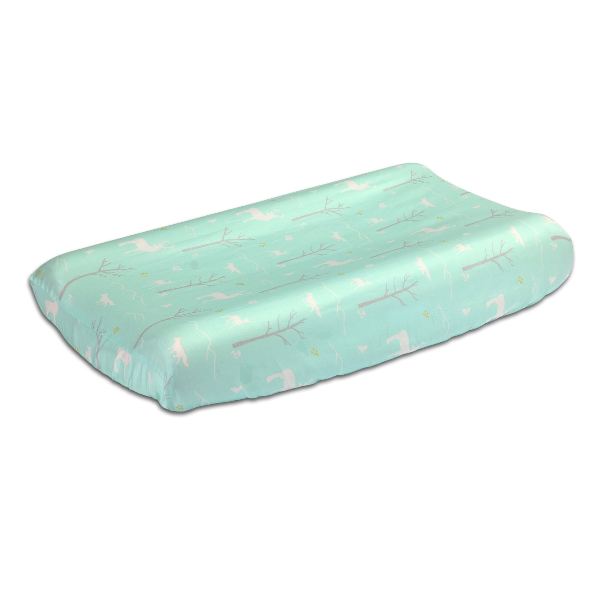 Mint Green Woodland Theme Baby Changing Pad Cover by The Peanut Shell