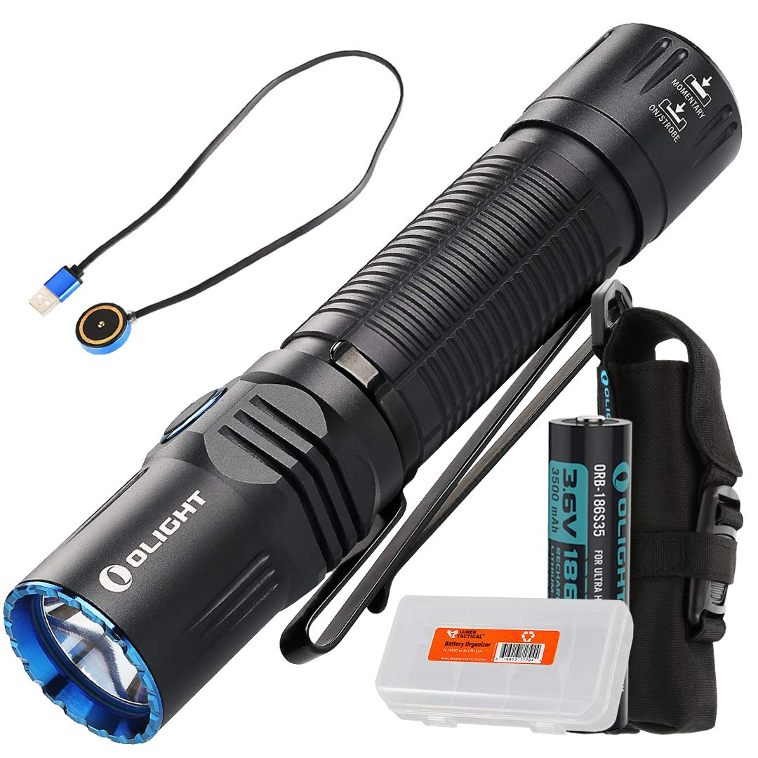 Olight M2R Warrior 1500 Lumen Magnetic USB Rechargeable LED Compact Tactical Flashlight (Cool White or Neutral White) with Lumen Tactical Battery Organizer (Cool White)