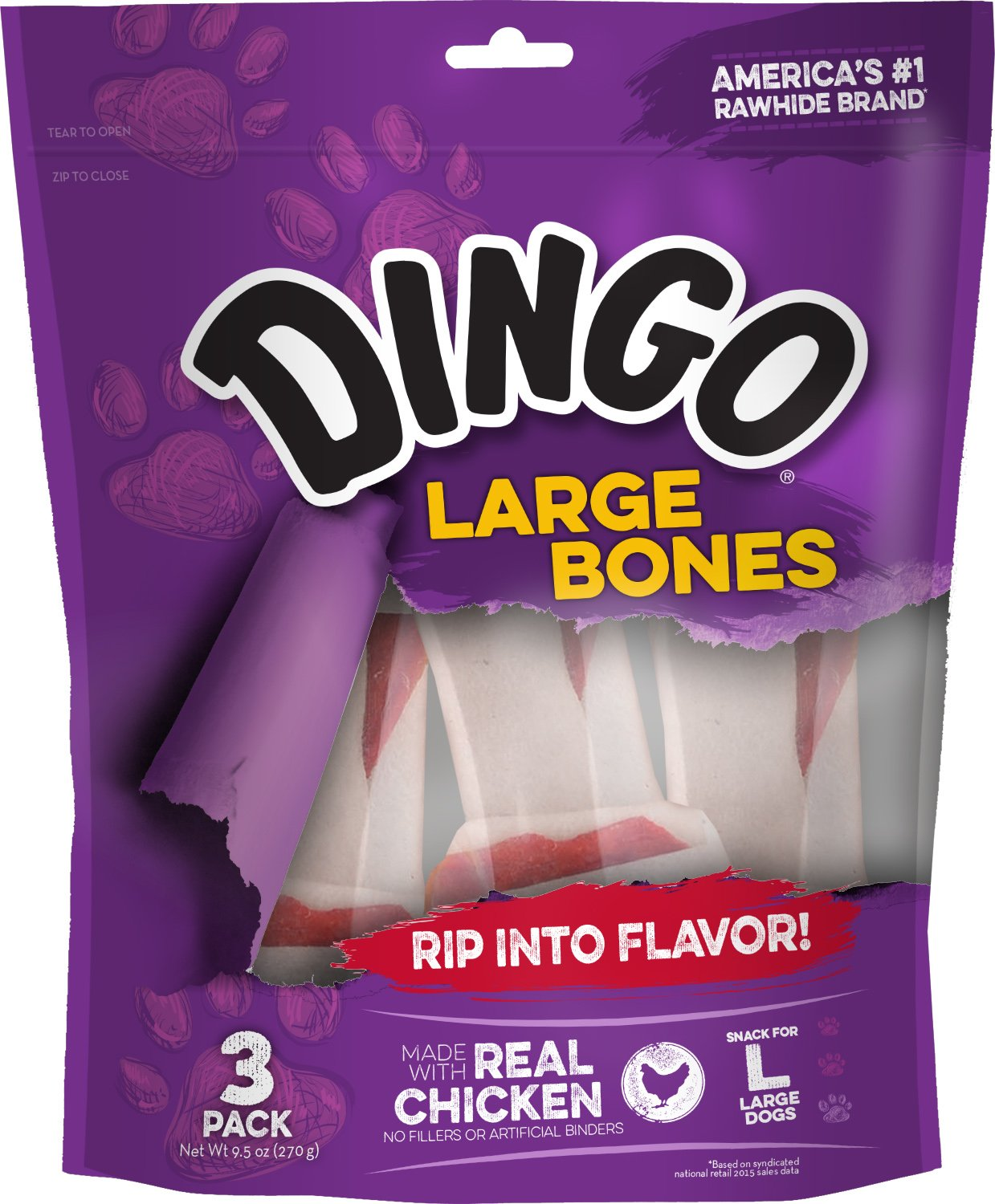 Dingo Rawhide Bones for Large Dogs, Chicken, 3-Count